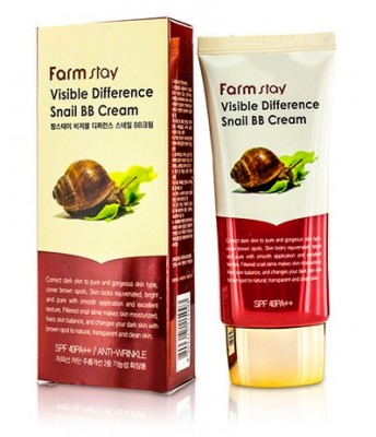 BB-крем с муцином улитки FARMSTAY Visible difference snail BB-cream SPF40 50 мл: фото