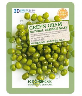 Тканевая 3D маска с экстрактом бобов Мунг FoodaHolic Green Gram Natural Essence Mask 23мл: фото