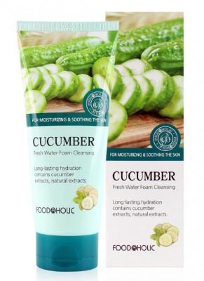 Пенка для умывания с экстрактом огурца FoodaHolic Cucumber Fresh Water Foam Cleansing 180мл: фото