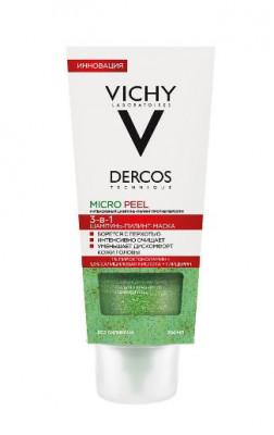 Шампунь-пилинг для интенсивного очищения кожи головы против перхоти VICHY DERCOS MICROPEEL 3в1 200мл: фото