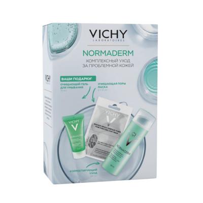 Набор Vichy Normaderm: корректирующий уход против несовершенств 50мл + очищающая поры маска 6*2мл + ежедневный глубоко очищающий гель 15мл: фото